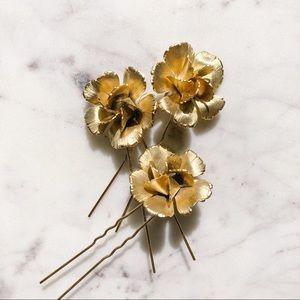 Bridal Gold Flower Hair Pins